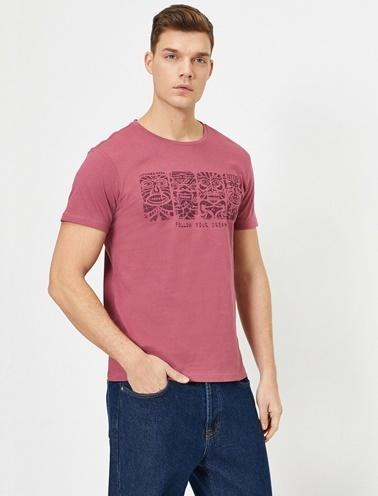 Koton Baskili T-Shirt Bordo